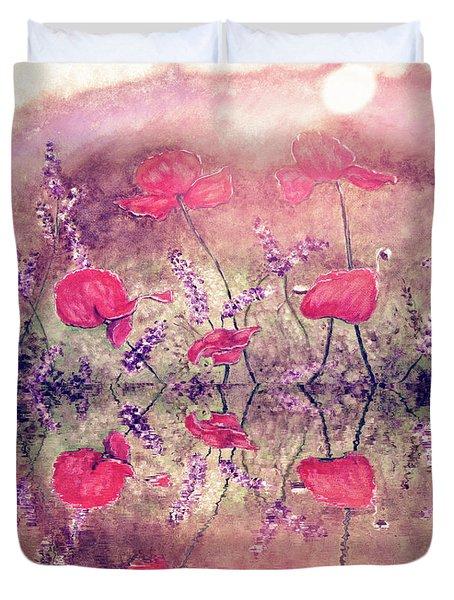 Poppies On Lake Duvet Cover