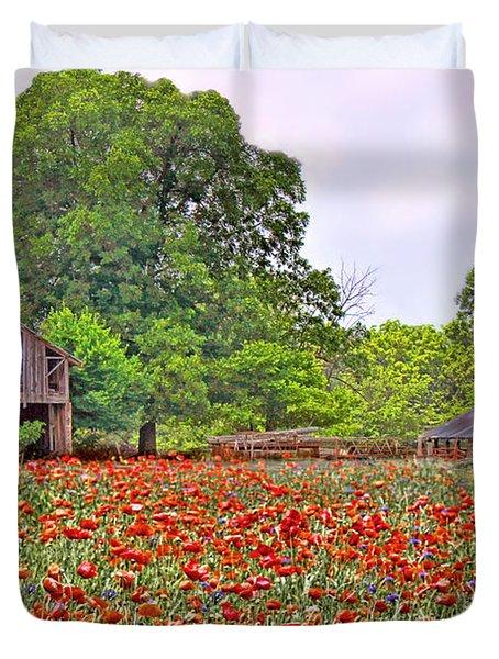Poppies On The Farm Duvet Cover