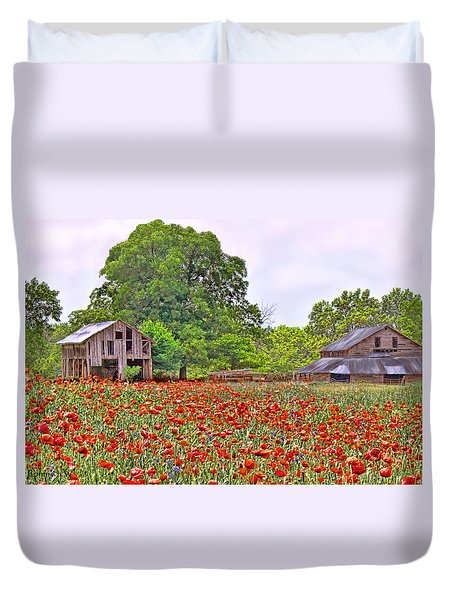 Poppies On The Farm Duvet Cover by Bonnie Willis