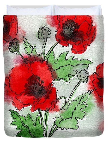 Poppies Popped Duvet Cover