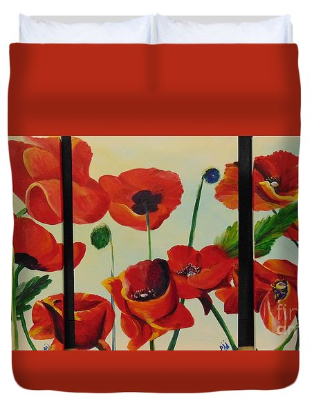 Duvet Cover featuring the painting Poppies by Saundra Johnson