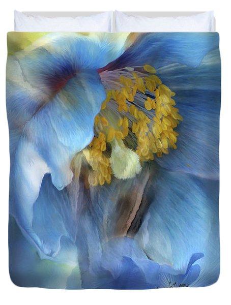 Poppies So Blue Duvet Cover by Carol Cavalaris