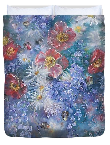 Poppies, Wisteria And Marguerites Duvet Cover