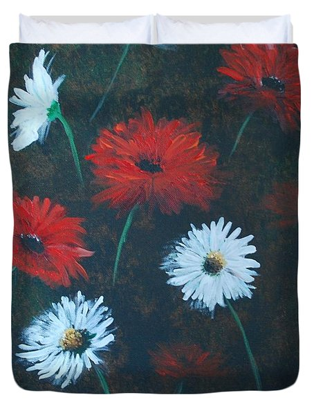Duvet Cover featuring the painting Poppin Daisies by Leslie Allen
