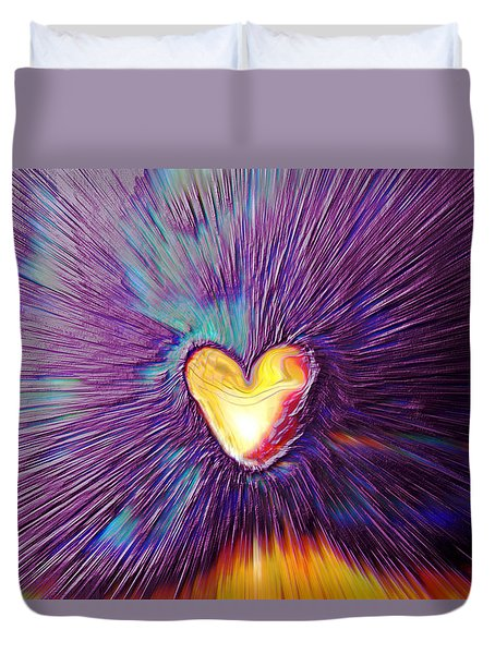 Duvet Cover featuring the digital art Popping Passion by Linda Sannuti
