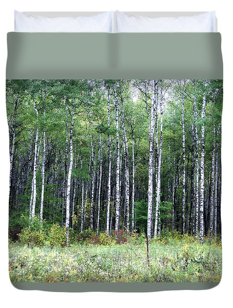 Duvet Cover featuring the photograph Popple Trees by Susan Crossman Buscho
