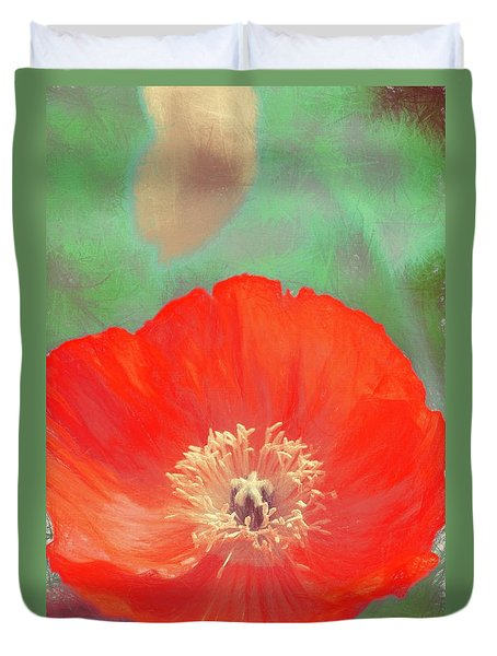 Duvet Cover featuring the photograph Poppy 22 by Pamela Cooper