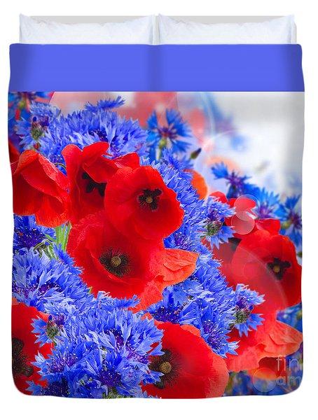Poppy And Cornflower Flowers Duvet Cover