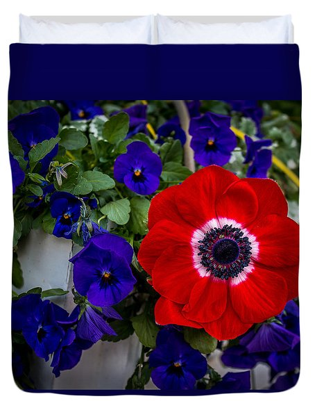 Poppy And Pansies Duvet Cover
