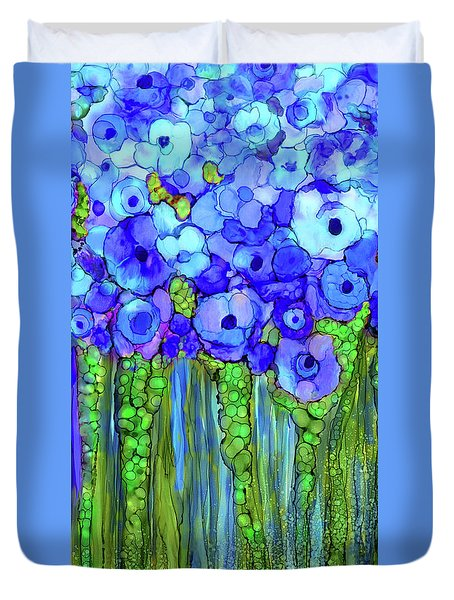 Duvet Cover featuring the mixed media Poppy Bloomies 2 - Blue by Carol Cavalaris