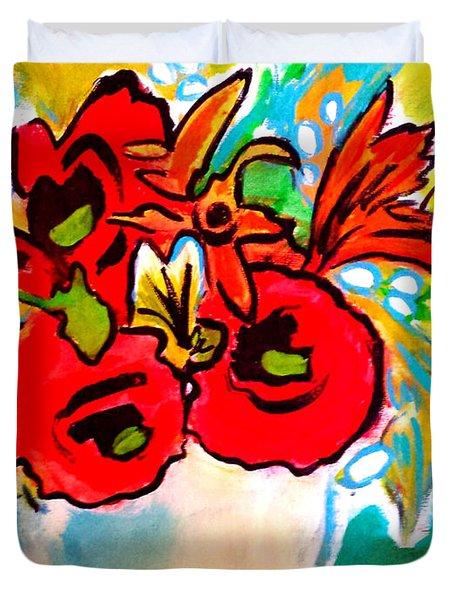 Poppy Bouquet Reworked Duvet Cover