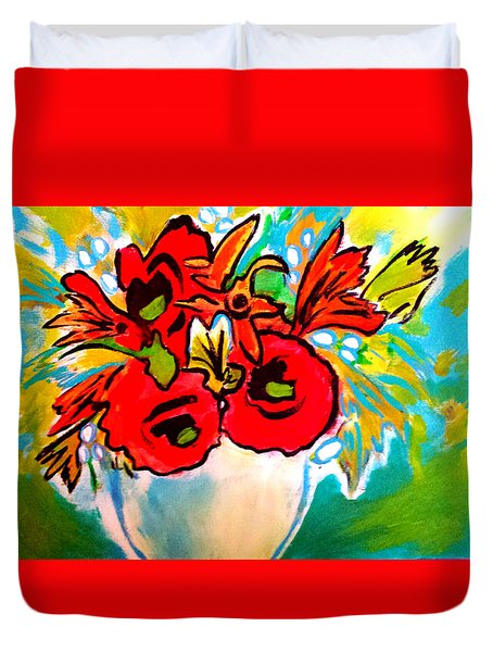 Poppy Bouquet Reworked Duvet Cover
