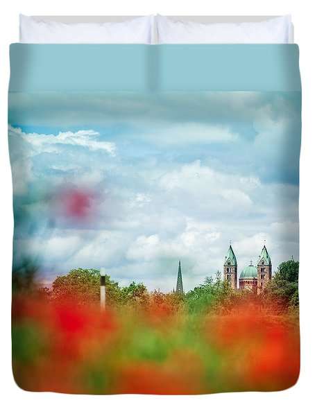 Poppy Field And Speyer Cathedral Duvet Cover