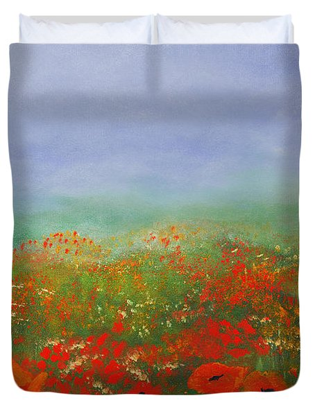 Poppy Field Impressions Duvet Cover