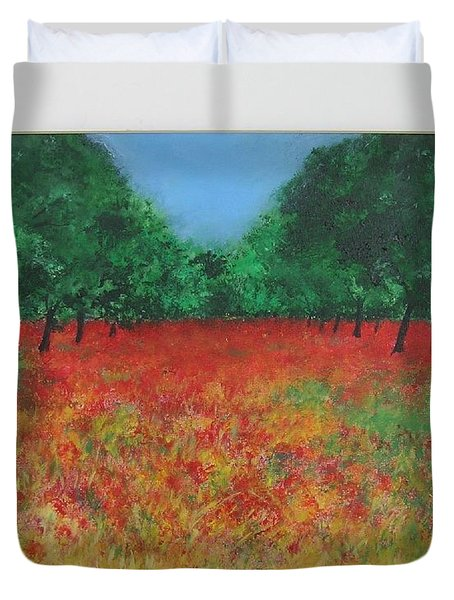 Poppy Field In Ibiza Duvet Cover by Lizzy Forrester