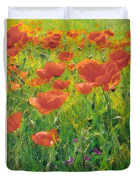 Duvet Cover featuring the digital art Poppy Field by Julian Perry