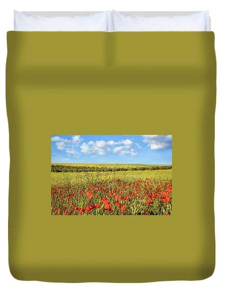 Duvet Cover featuring the photograph Poppy Fields by Marion McCristall