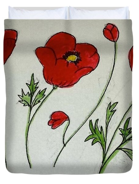 Duvet Cover featuring the painting Poppy Flowers by Margaret Welsh Willowsilk