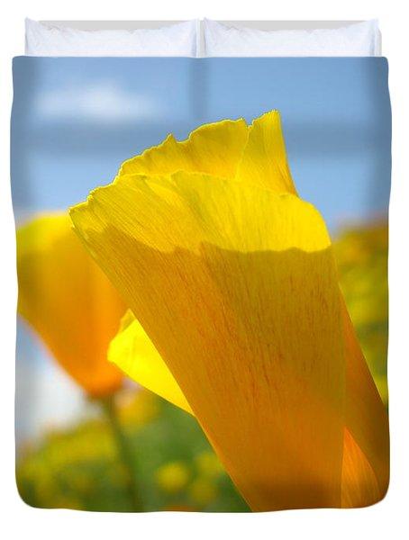 Poppy Flowers Meadow 3 Sunny Day Art Blue Sky Landscape Duvet Cover by Baslee Troutman