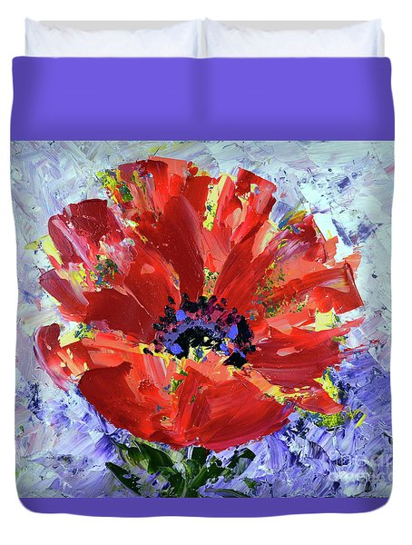 Poppy In Fields Of Lavender Duvet Cover