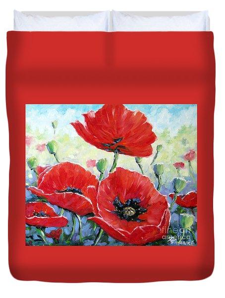 Poppy Love Floral Scene Duvet Cover by Richard T Pranke