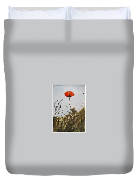 Poppy On The Field Duvet Cover by Manuela Constantin