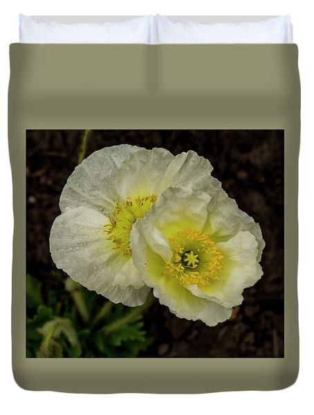 Duvet Cover featuring the photograph Poppy Pair by Jean Noren