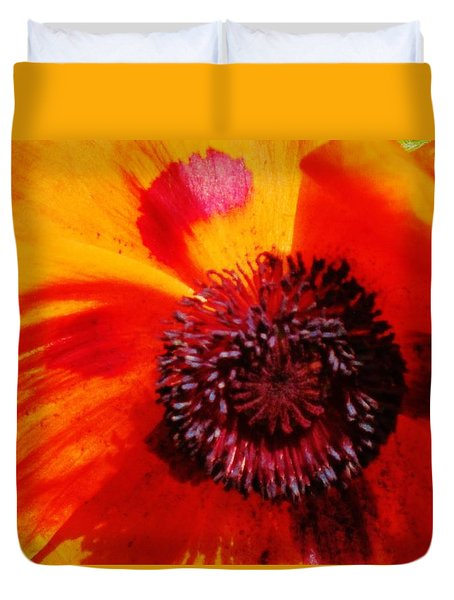 Duvet Cover featuring the photograph Poppy Pop by Cathy Long