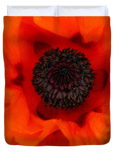 Duvet Cover featuring the painting Poppy by Renate Nadi Wesley