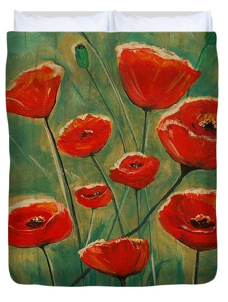 Duvet Cover featuring the painting Poppy Surprise by Leslie Allen