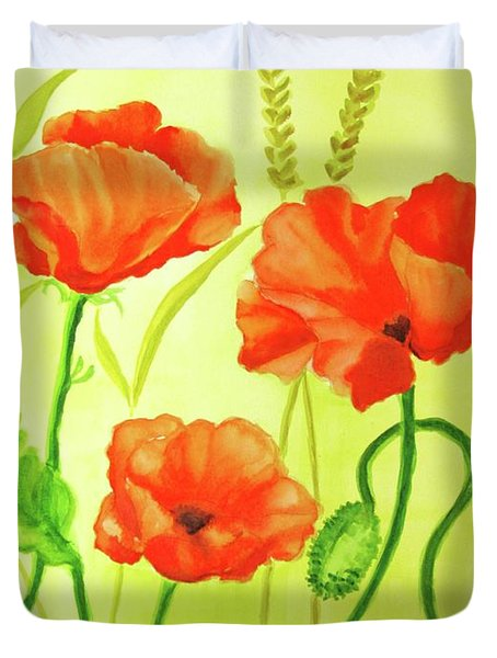 Duvet Cover featuring the painting Poppy Trio by Inese Poga