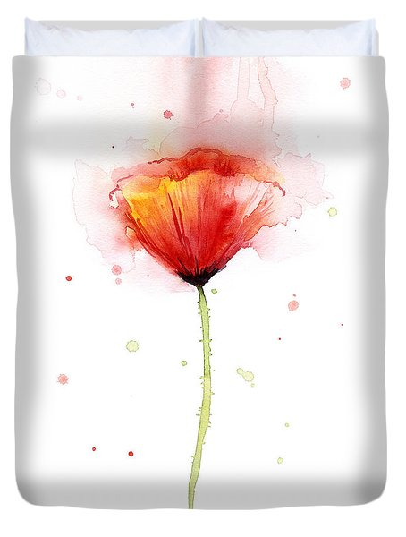 Poppy Watercolor Red Abstract Flower Duvet Cover