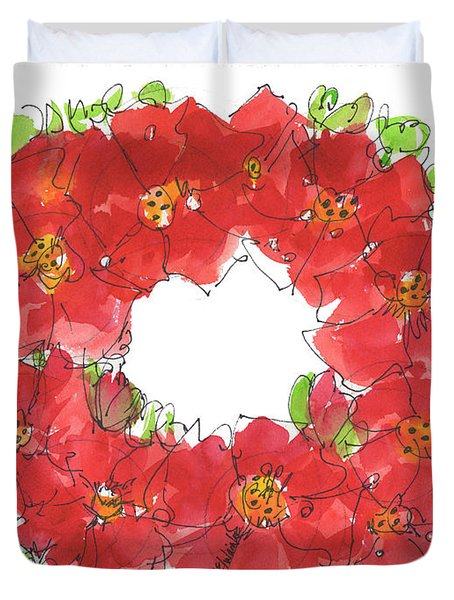 Poppy Wreath Duvet Cover