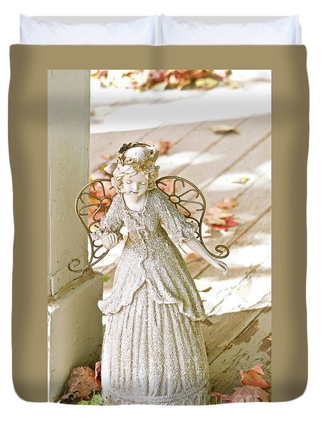 Porch Angel In The Fall Duvet Cover