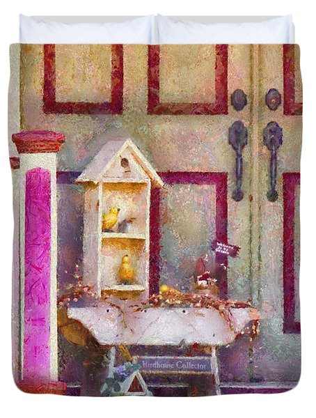 Porch - Cranford Nj - The Birdhouse Collector Duvet Cover by Mike Savad