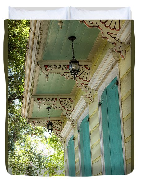 Porch In New Orleans Duvet Cover