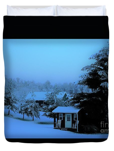Porch Setting, Not Today Duvet Cover