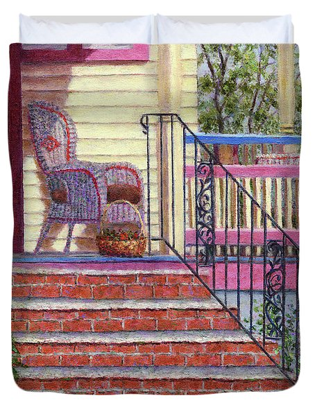Porch With Basket Duvet Cover by Susan Savad
