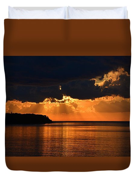 Porcupine Mountains Superior Sunset Duvet Cover
