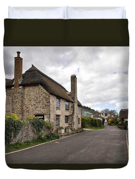 Duvet Cover featuring the photograph Porlock Weir by Shirley Mitchell