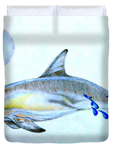 Duvet Cover featuring the drawing Porpoise by Mayhem Mediums