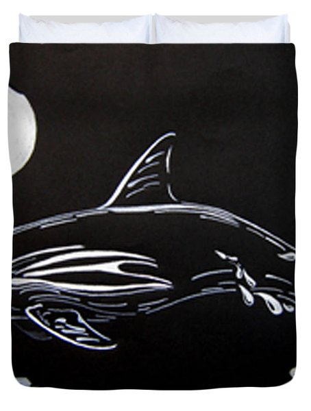 Duvet Cover featuring the drawing Porpoise Sillhouette by Mayhem Mediums
