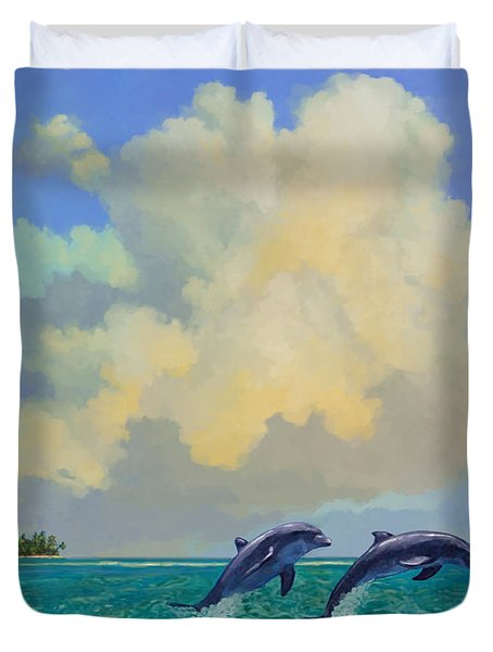 Porpoiseful Play Duvet Cover