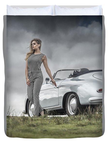 Porsche 356 Speedster With Model Duvet Cover