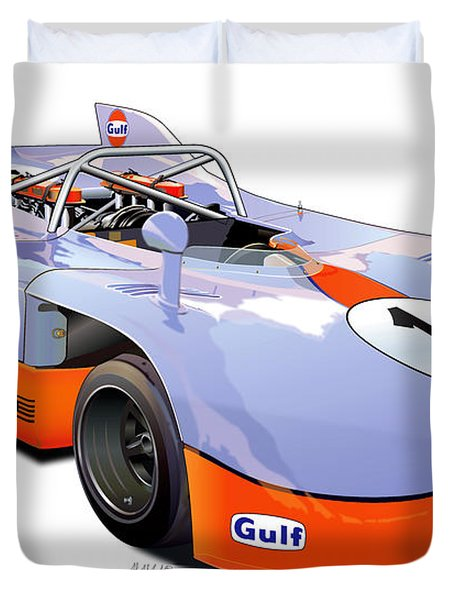 porsche 908 GULF illustration Duvet Cover