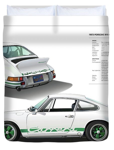 Porsche 911 Carrera Rs Illustration Duvet Cover