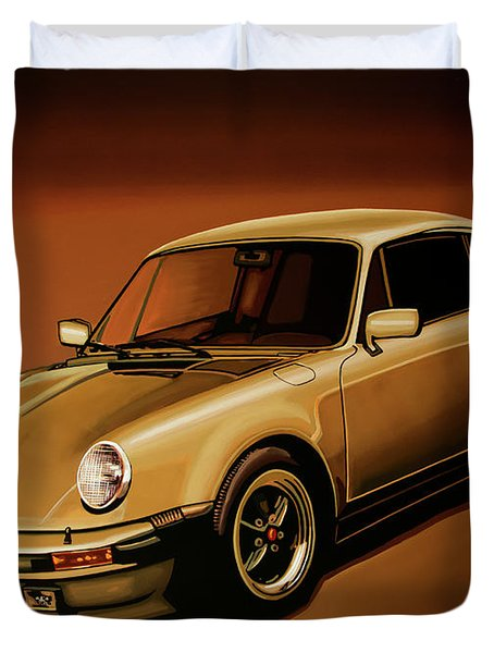 Porsche 911 Turbo 1976 Painting Duvet Cover