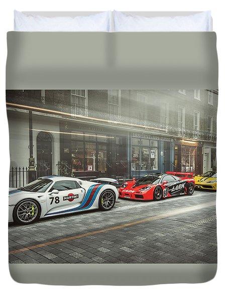 Porsche 918 Mclaren F1 Gtr And Ferrari 458 Specialea Duvet Cover