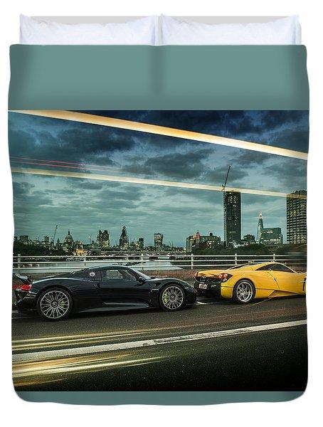 Porsche 918 Spyder And Pagani Huayra Duvet Cover