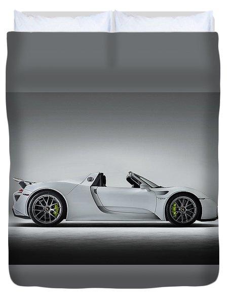 Duvet Cover featuring the digital art Porsche 918 Spyder by Douglas Pittman